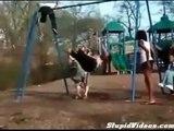 Fun in the sun turns sour. FAT GIRL FALLS OFF SWING