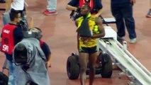 Usain Bolt mis KO par un cameraman après son 200m - Grosse chute en Segway
