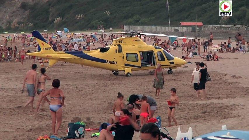 Hendaye : Urgence Hélico SAMU 64 A - Euskadi Surf TV