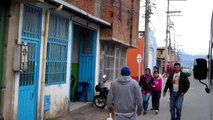 The streets of Cazuca outside of Bogota Colombia. In the Bogota area of Soacha.