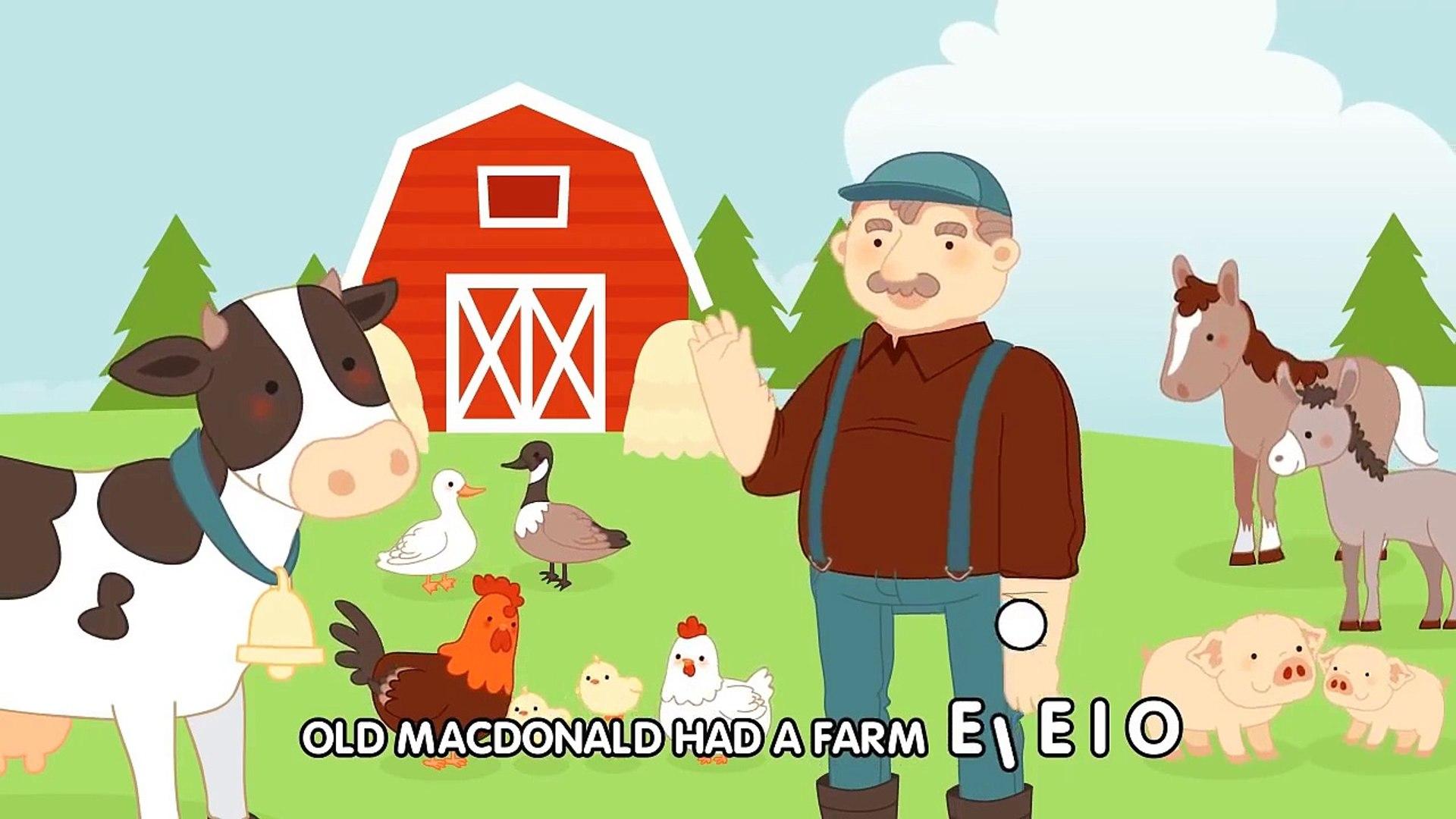 Old Macdonald Had A Farm Nursery Rhymes Song With Lyrics Animated Cartoon For Kids Video Dailymotion
