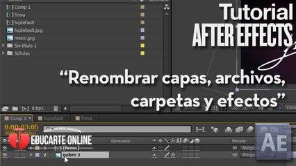 Como renombrar capas, archivos, carpetas y efectos en After Effects