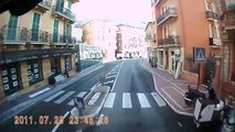 Trucking through the narrow streets and tunnels of Monaco. Dash-cam video.