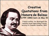 Creative Quotations from Honore de Balzac for May 20