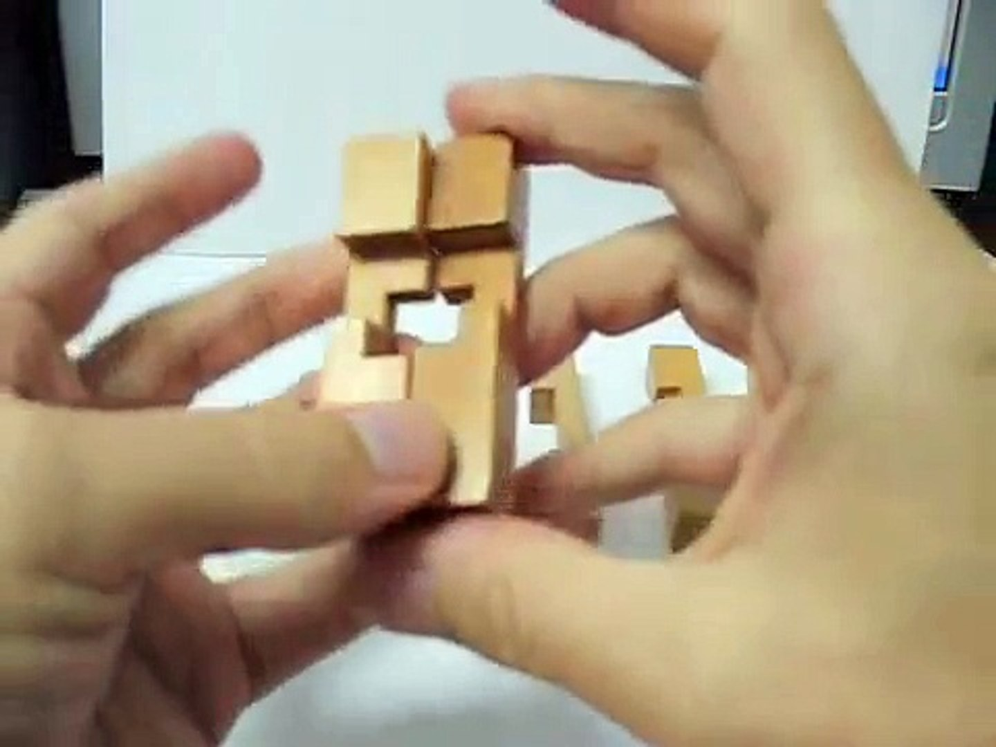 Burr Puzzle 3D Wooden Cross - Solution