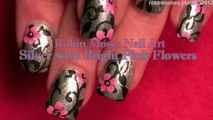 Nail Art Design Tutorial | Neon pink flowers on silver | DIY #NAILART