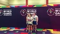 Special Olympics USA medley relay team gets gold medal at World Games.