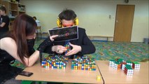 World Record: 41 Rubik's Cubes solved blindfolded!