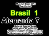 (Historico ) Brasil 1 Alemania 7 (Relato German Sosa) Mundial Brasil 2014 Los goles