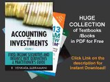 Accounting for Investments, Fixed Income Securities and Interest Rate Derivatives A Practitioner'...