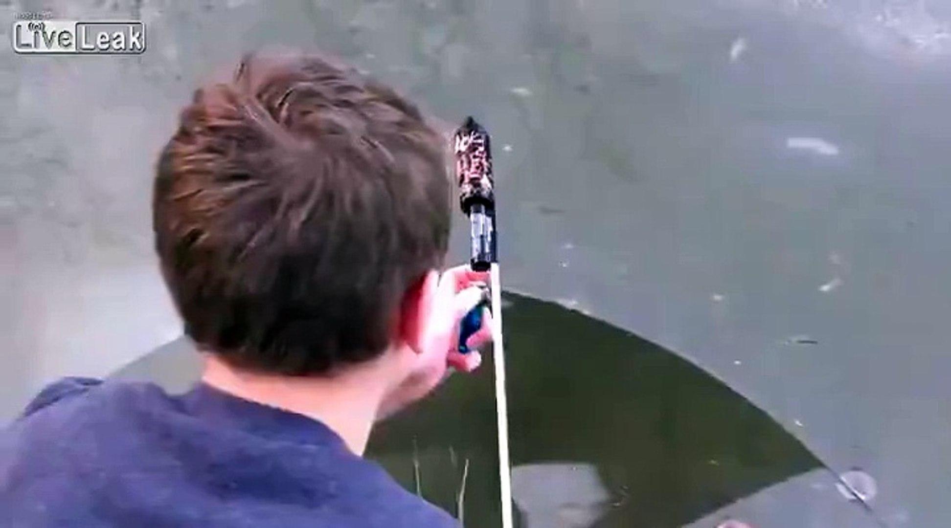 Bottle rocket under frozen lake.