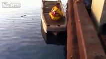 Tug boat accident caught on camera . Don't think the dude survived.. lol