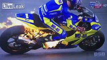 BSB cyclist's bike explodes into flames forcing him to leap off