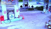 Driving Fully-Loaded Truck Through Gas Station Pumps - at high speed
