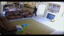 Shocking video shows knife-wielding burglars going through home while family hides