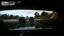 Idiot Clips Cement Truck While Switching Lanes - Just Keeps Going