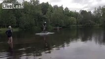 Guy Rides Drone Over Water....  Personal Hoverboard.....