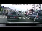 Funny Guy Walks Over The Bonnet Of A Man's Car At Crossing