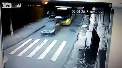 Bus Loses Brakes and Careens Down Street