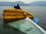 Righting an capsize dinghy without get wet