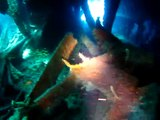 Wreck of the Rhone Bow Inside Colorful Coral, Turtle with Dive BVI Virgin Gorda Caribbean
