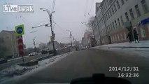 Russian driver misinterprets hit and run.