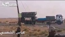 MRL volleys fired from Improvised Semi trailer  towards IS terrorists