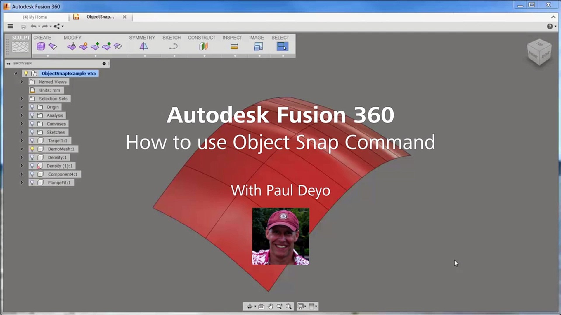Fusion 360: How to use Object Snap Command