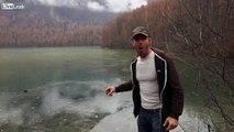 Skipping Stones on Frozen Lake.