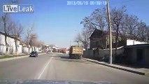 Concrete Mixer almost takes out 3 Pedestrians....