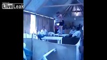 Woman does her sexy Dance On a flimsy looking table..