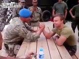 Arm Wrestling; Turkish Soldier vs. Dutch Soldier