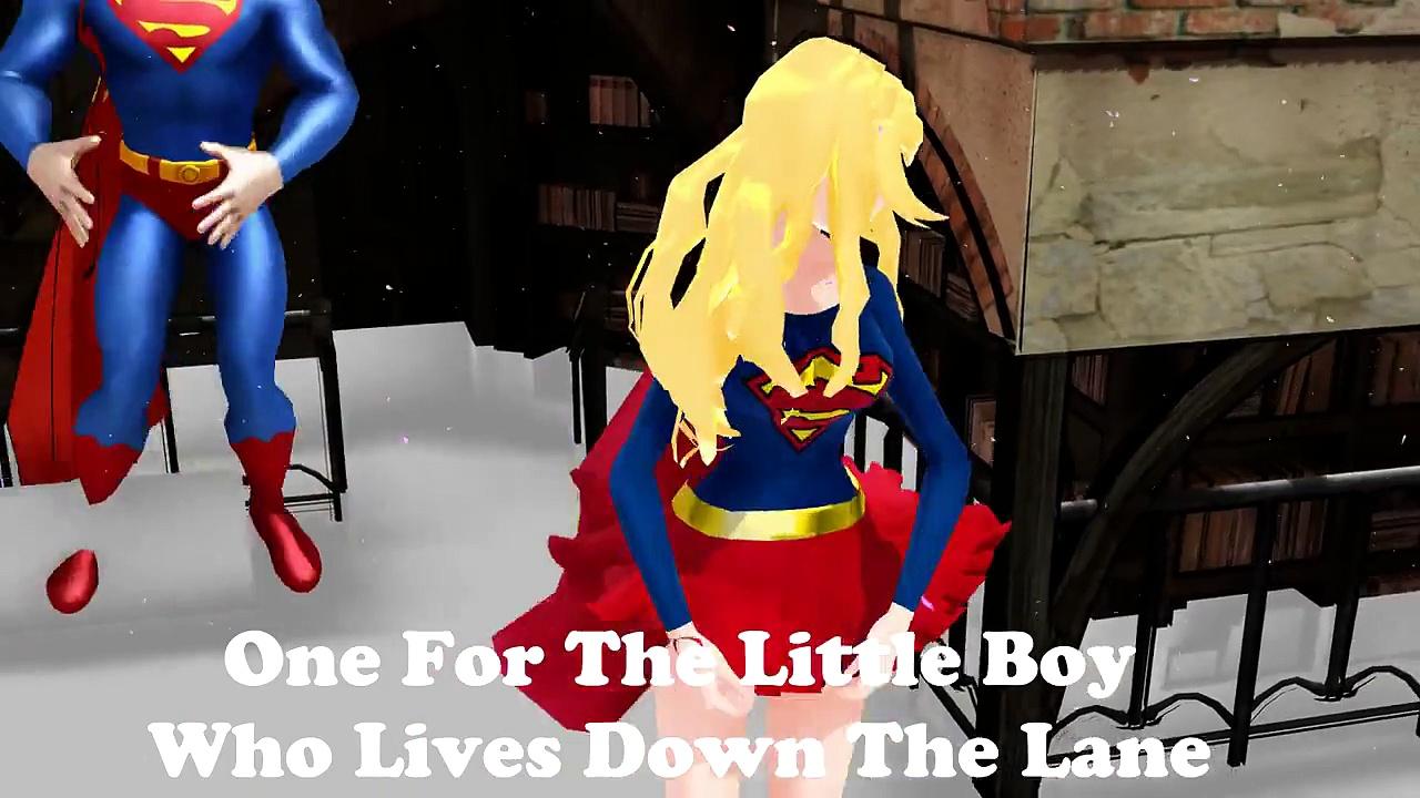 Superman, Supergirl, Spiderman and Mr Sheep in Baa Baa Black Sheep Nursery Rhyme