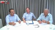 Οι βουλευτές Ν.Δ. Σερρών Κώστας Καραμανλής και Φλώρινας Ιωάννης Αντωνιάδης, μιλούν στη Γνώμη