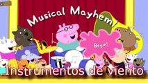El sonido de instrumentos musicales de viento peppa pig,  flauta, saxo,  trombon,  trompeta