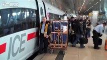 German ICE high-speed trains at Frankfurt Airport