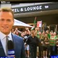 NRL Sydney South's Rabbitohs Supporter goes all out on Live TV