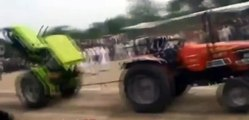 Tractors humor crashed in battle of pulling