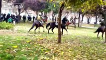 Mounted police escape from mob during protests - Chile