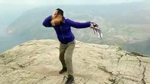 Tourist Nearly Swept Off Exposed Rock by Strong Winds