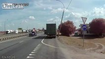 Truck side-swipes parked vehicle, then crashes into back of another truck