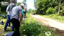 Rally Spectators Help Rally Driver