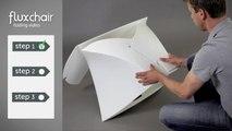 De opvouwbare design stoel Flux chair van Flux is ontworpen door Tom Schouten en Douwe Jacobs.