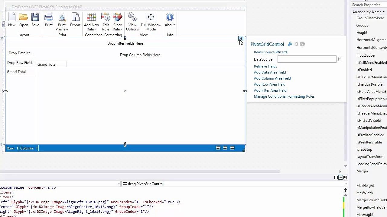 DevExpress WPF Pivot Grid: Binding to an OLAP Cube