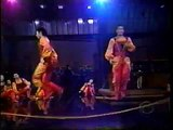 Chinese jumprope acrobats on Late Show studio performance