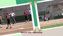 Shortstop Fielding Ball & Throwing Out @ 2nd Vs Breakers. Fast Pitch Softball. Burrow Class of 2017