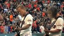 James Hetfield and Kirk Hammett of Metallica National Anthem 2013