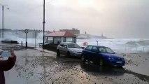 The scene at Aberystwyth - New Years 2014 Storm - Promenade Damage
