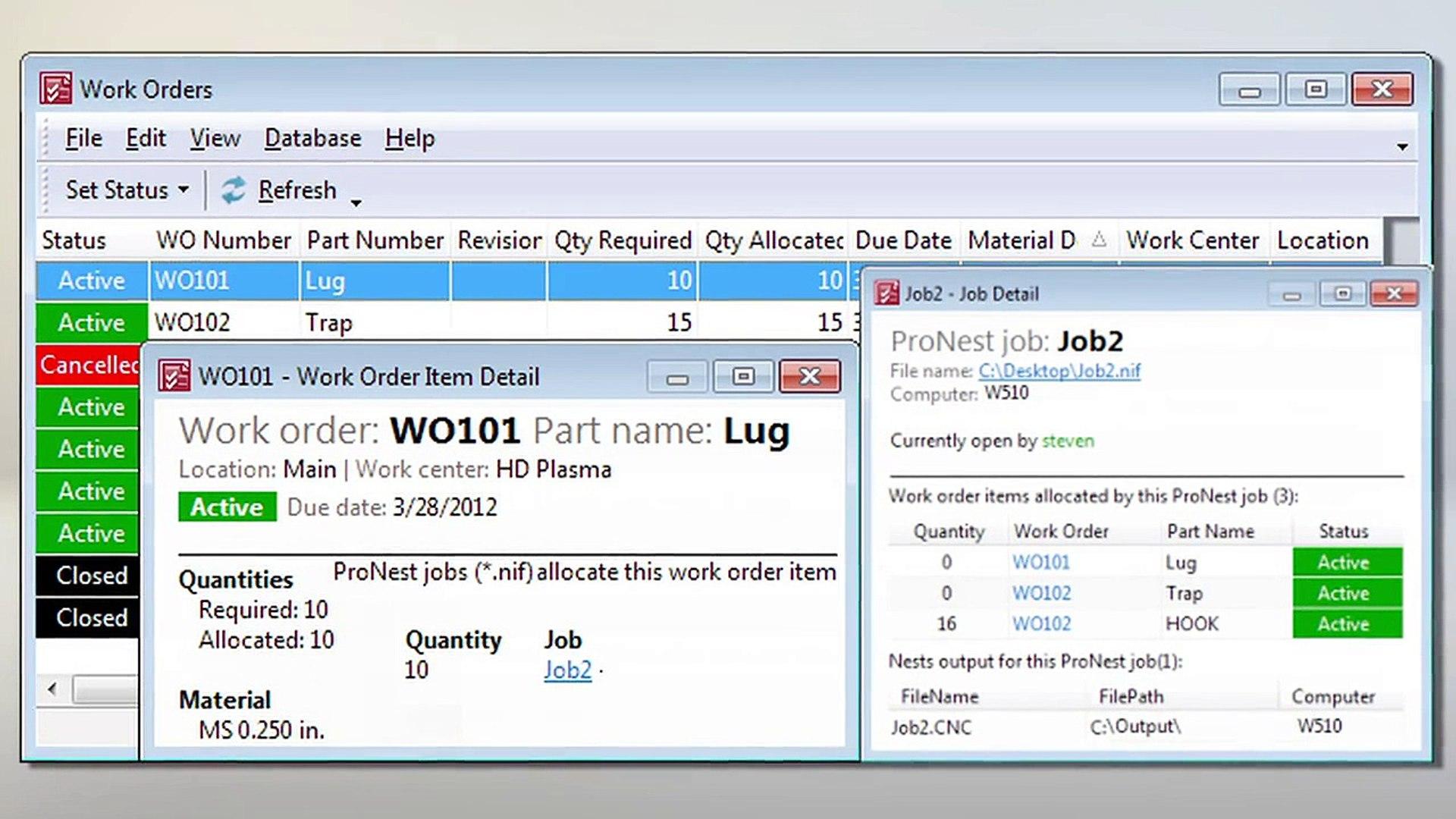 ProNest Work Order Processing Module