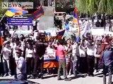 Students hissed off NATO Secretary General Anders Fogh Rasmussen in Yerevan